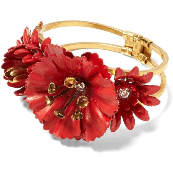 Elizabeth Cole Limited Edition Red Flower Bracelet 129 Liked On Polyvore Featuring Jewelry Bracelets Blossom
