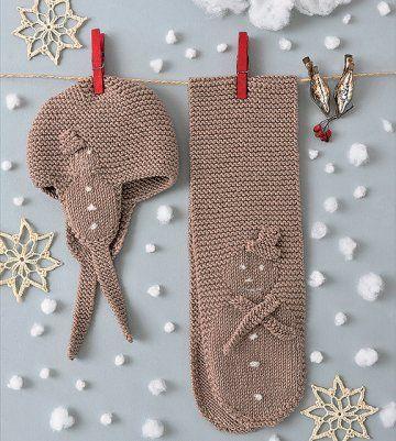 Un ensemble bonnet et écharpe en tricot   Tricot et crochet ... a90c81cd262
