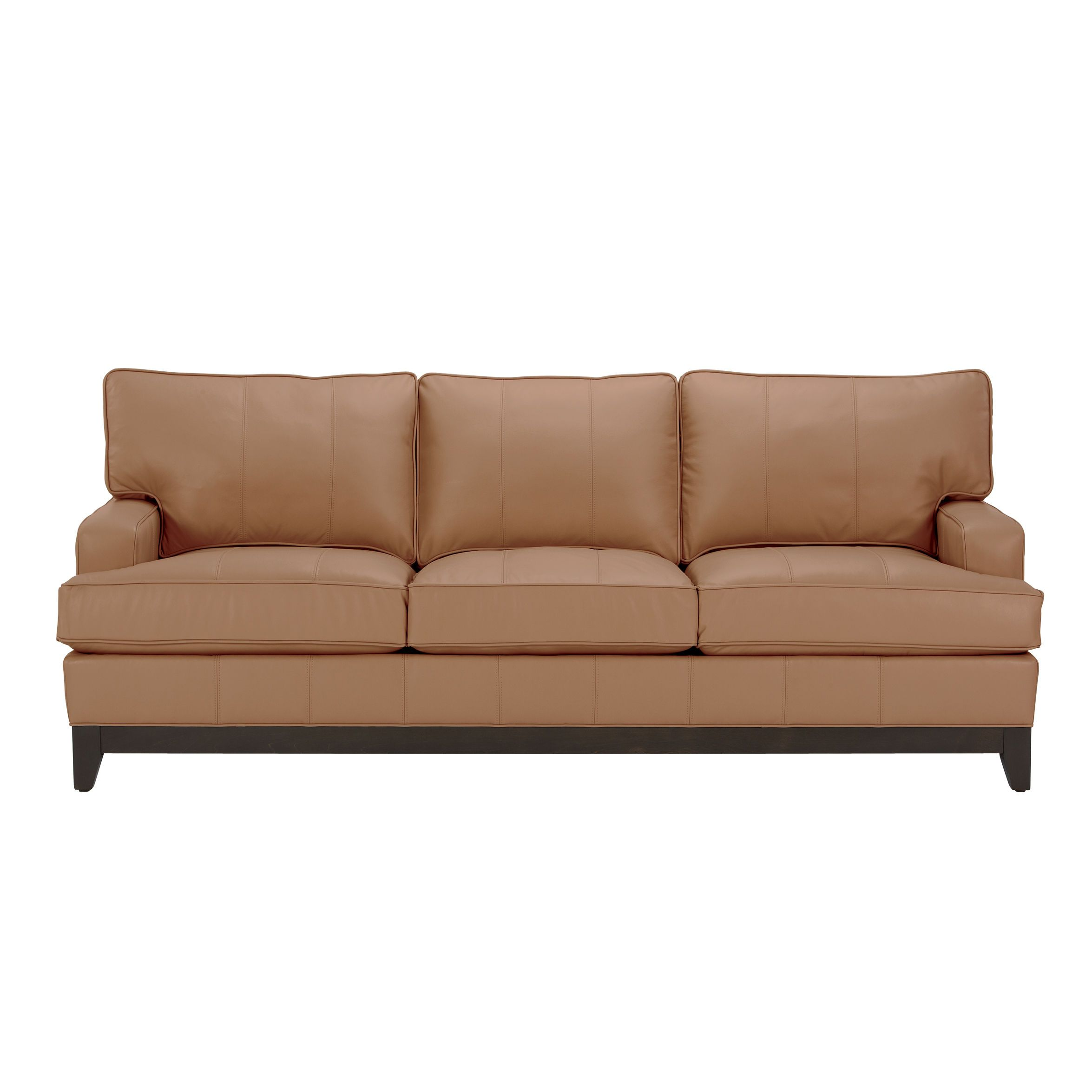 Arcata Three Cushion Leather Sofa Ethan Allen Us