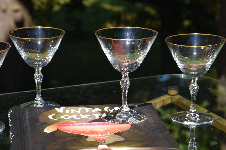 Vintage Gold Rimmed Cocktail Martini Glasses Set Of 7 Cocktail Party Glasses Mixologist Craft Cocktail Glasses Manhattan Glasses Martini Craft Cocktails Cocktails
