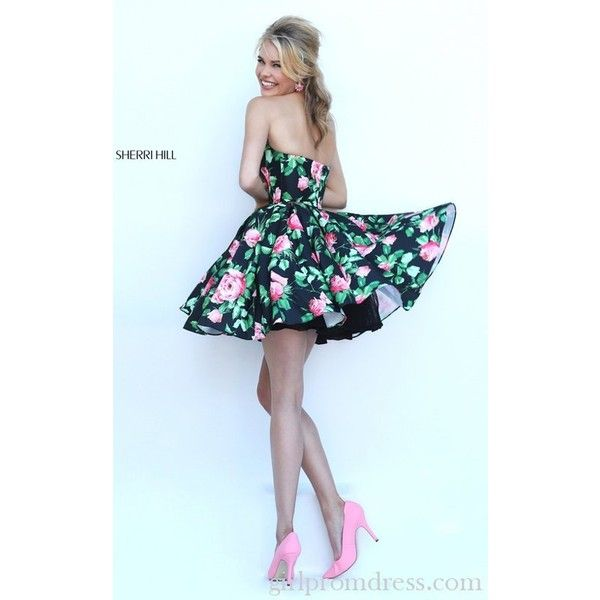 Floral Printed Sweetheart Prom Dress 2016 Sherri Hill 50259 ($185) ❤ liked  on Polyvore