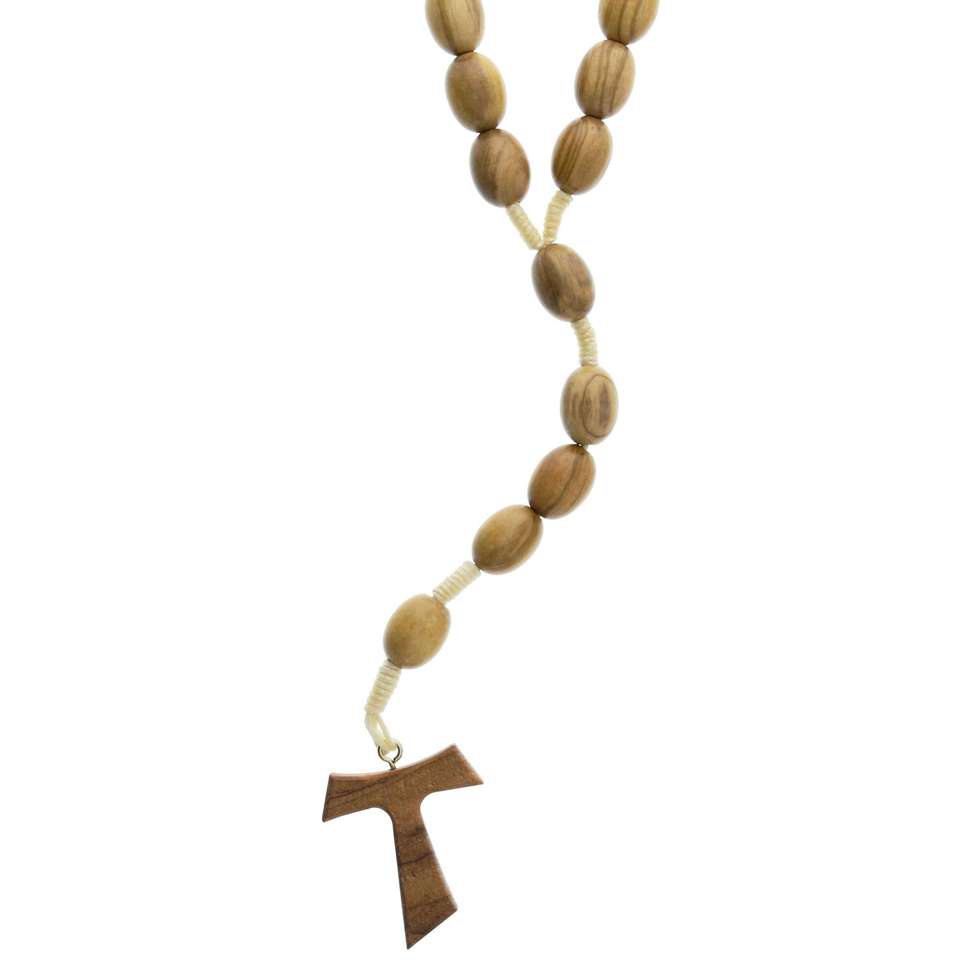 Tau Cross Olive Wood Franciscan Rosary Made In Italy