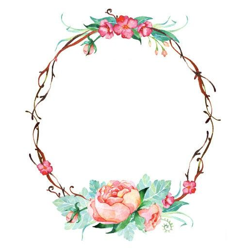 Decorative Floral Frame Romantic Baroque Vintage Shabby Victorian Couronne De Fleurs Roses Pink Roses Crown Frame Floral Monograma Casamento Moldura Floral