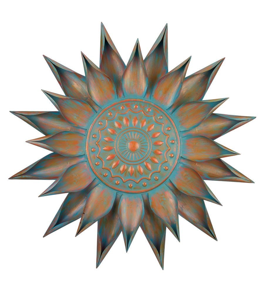 Copper turquoise giant flower wall art decor metal sun burst wall