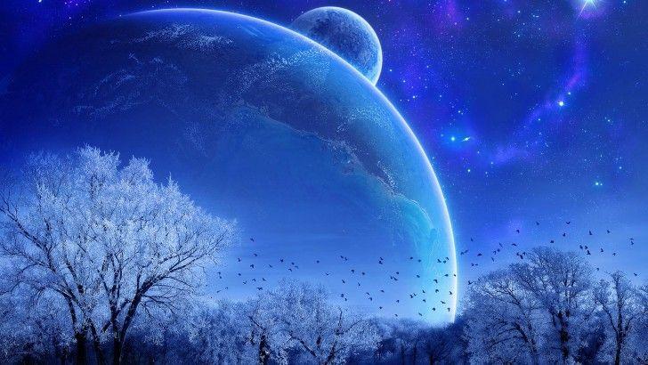 Winter Trees Night Sky Scenery Planet Stars Wallpaper Fond Ecran Paysage Paysage Feerique Paysage Nuit