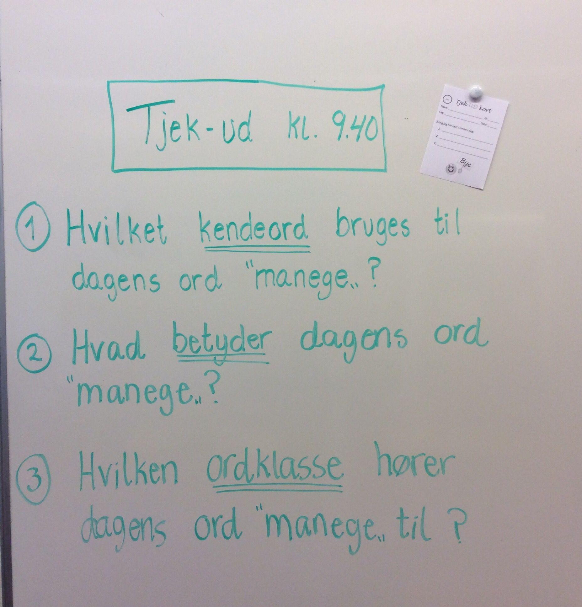 """Tjek-ud på et """"grønt"""" dagens ord. De grønne ord er de ord som klassen samlet er blevet enige om at kun/kunne bruge...."""