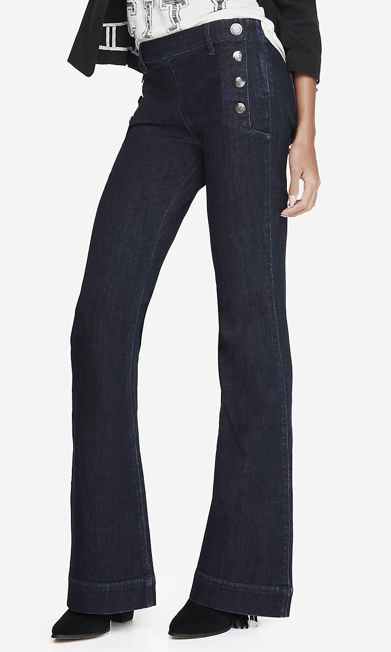 Medium Wash Mid Rise Bell Flare Sailor Jean From Express Sailor Jean Flare Leg Jeans Denim Design