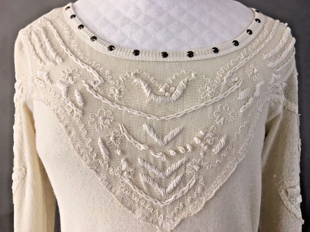 FREE PEOPLE Delicate Knitted Embroidered Top, Ivory, Long Sleeves, XS #FreePeople #KnitTop #Casual