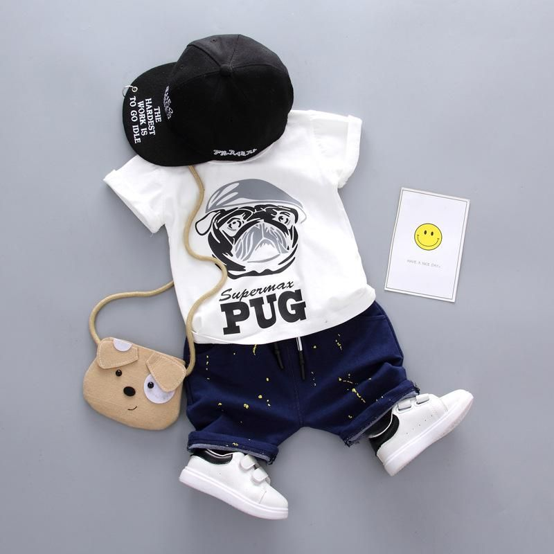 Newborn Infant Baby Cute Boys Dog Outfits Clothes 2PCS Set T-shirt Tops+Pants