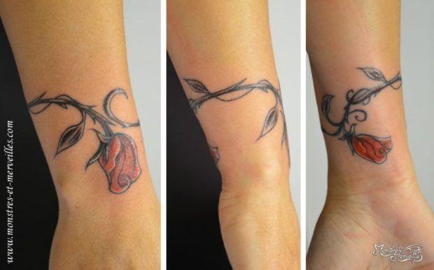 Rose Rouge Tatouage Femme Poignet Bracelet Tatouage Tattoos