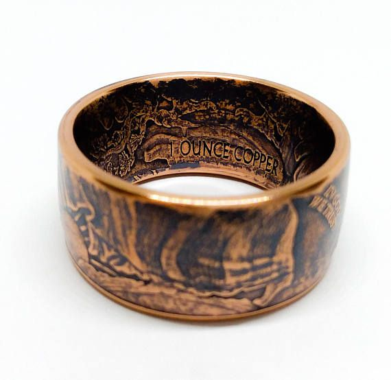 Walking Liberty Coin Ring Pure Copper Gifts For Him Her