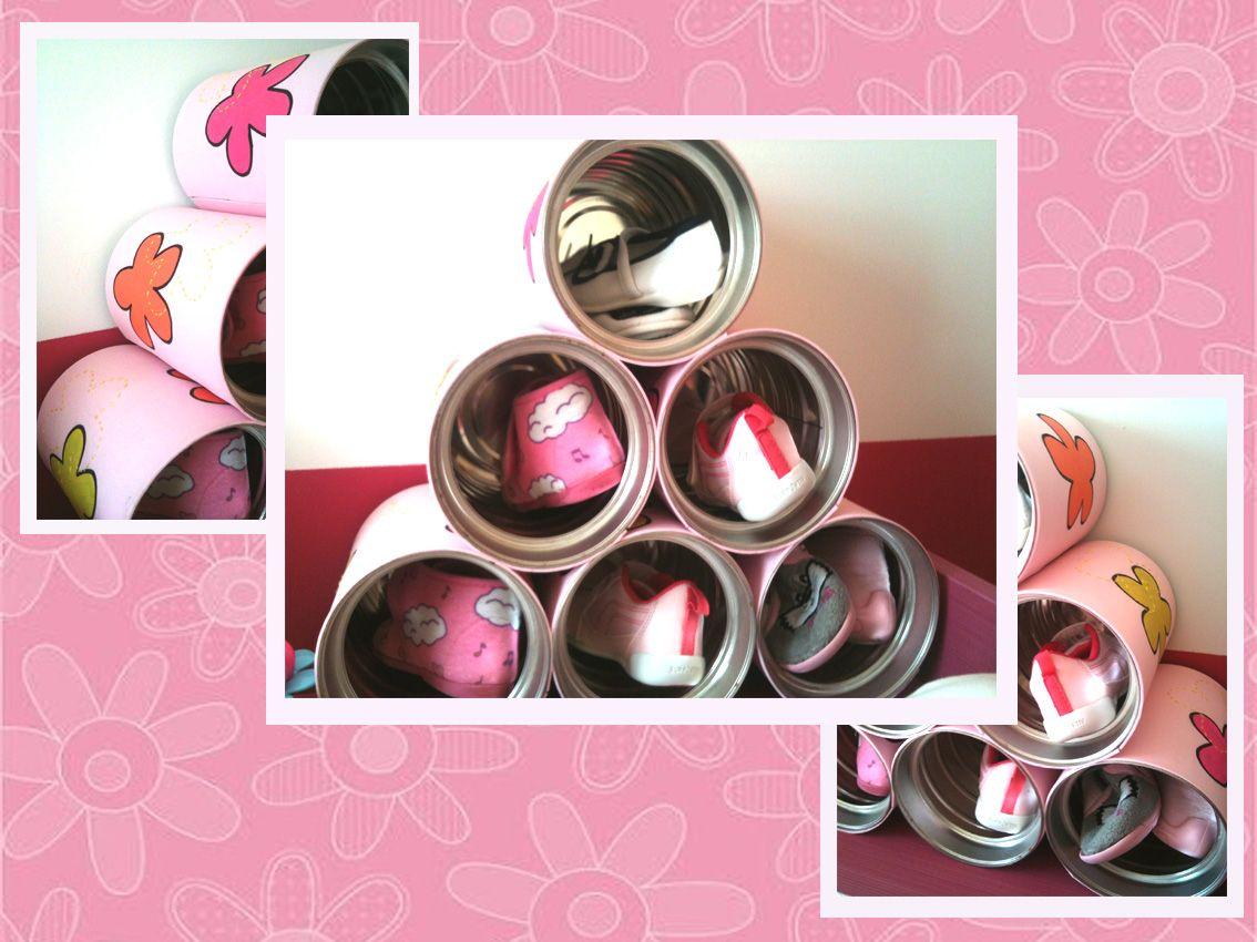 Zapatero infantil con latas de leche recicladas latas for Ideas para hacer un zapatero