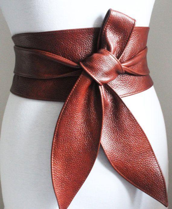 rich brown leather obi belt tulip tie waist or hip belt