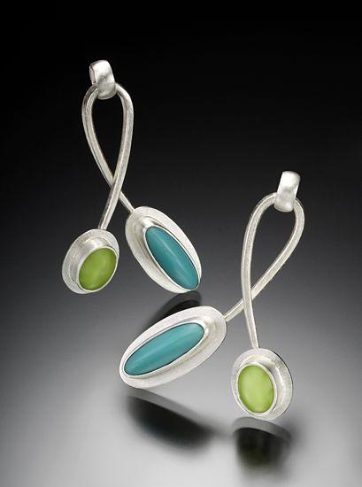 Twist Earrings by Amy Faust (Silver & Glass Earrings