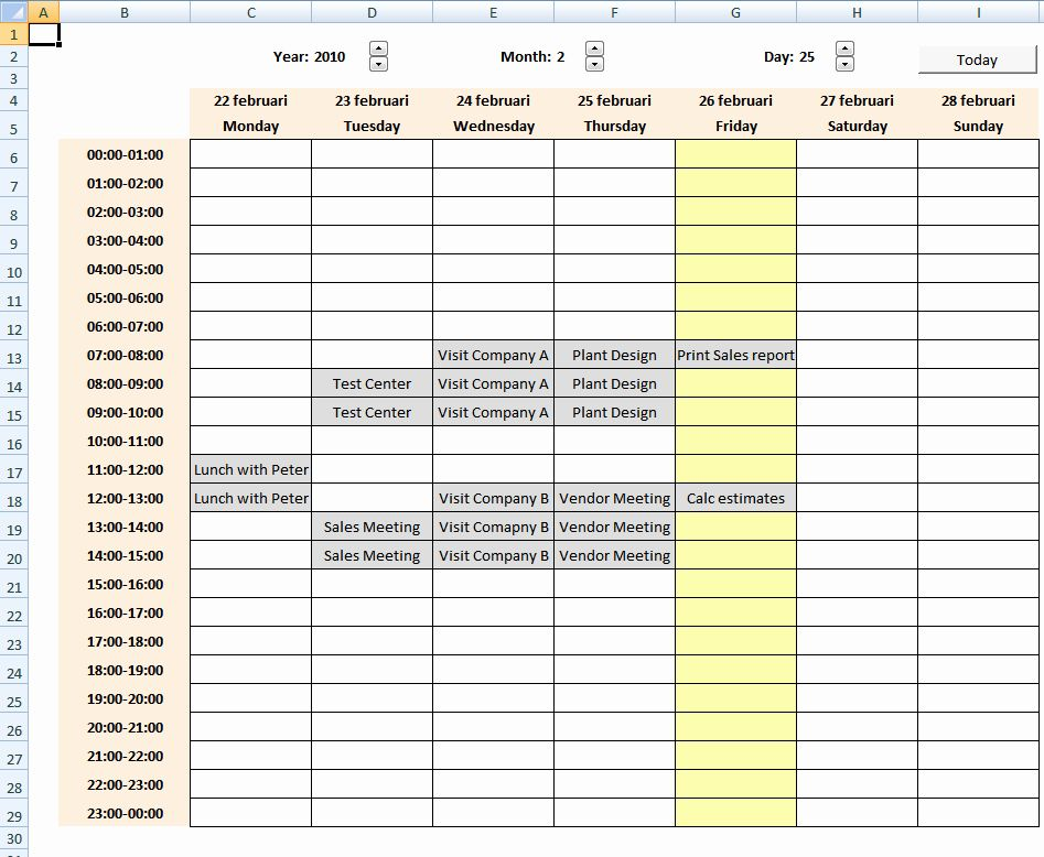 Weekly Schedule Templates Excel Lovely Calendar with ...