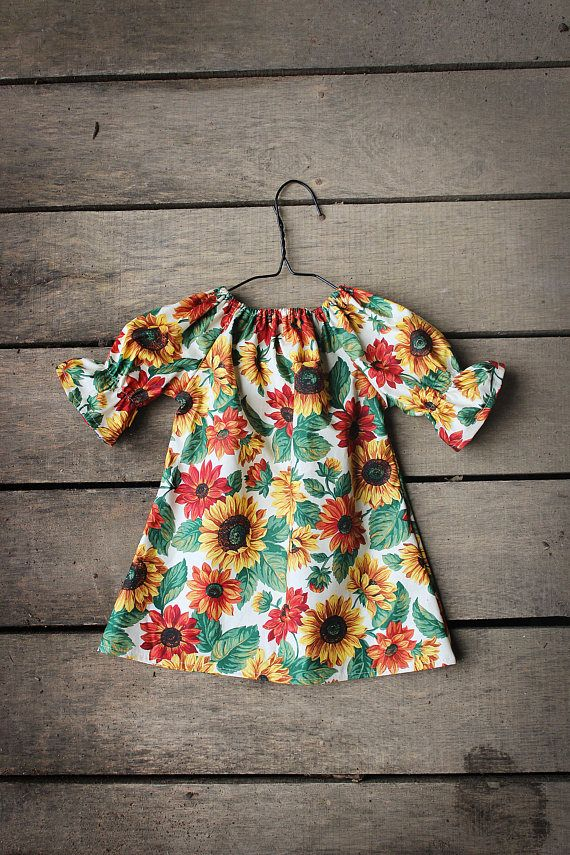 06b56ccc5141 Girls Dress, Sunflower Fall Floral three quarter length long sleeve peasant  dress, Thanksgiving, coming home outfit, toddler, NB to 11/12
