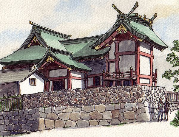 Ancient chinese temple sketch drawing ancient