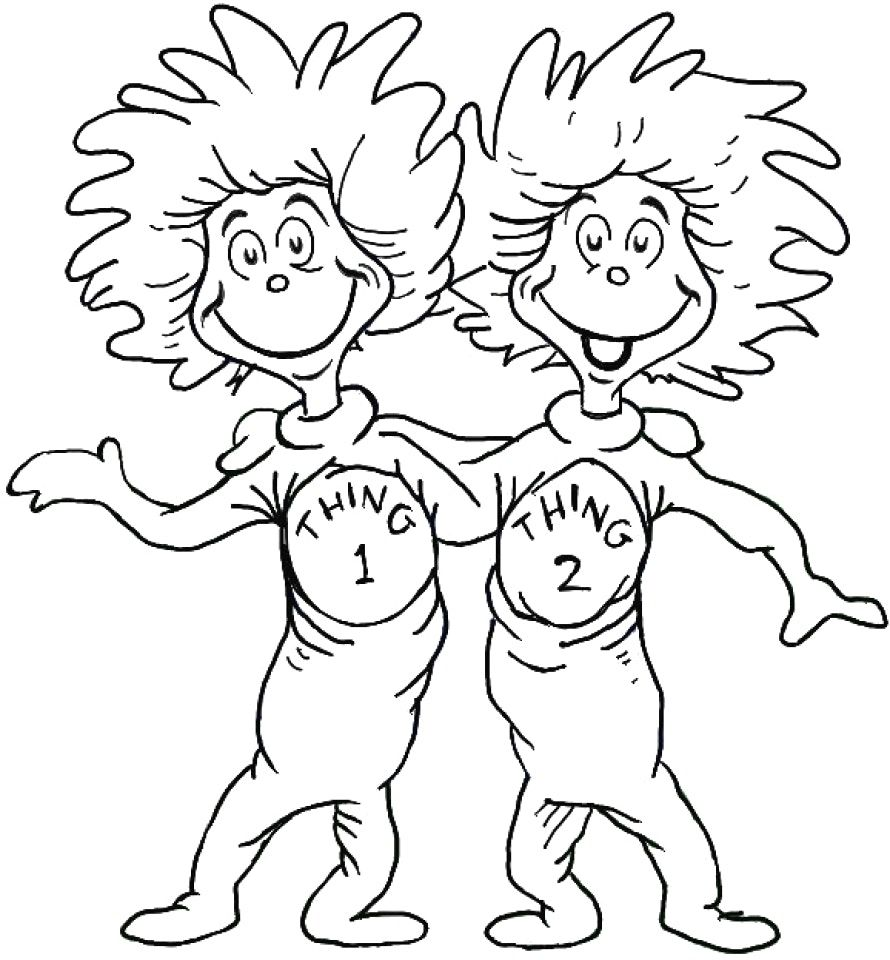 Thing 1 And Thing 2 Coloring Page Dr Seuss Coloring Sheet Dr