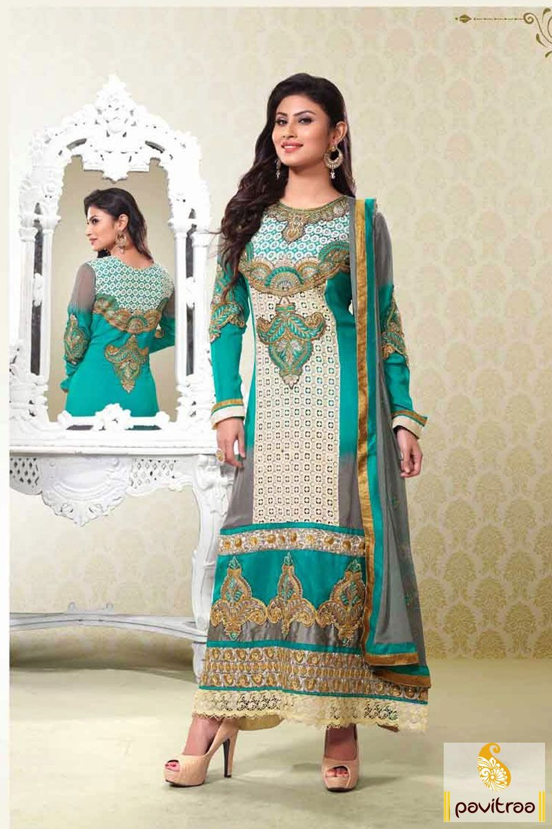 Pavitraa turquoise straight party wear salwar suit rs