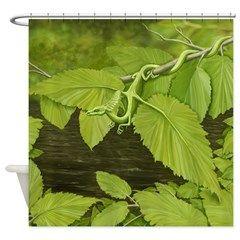 River Birch Leaf Dragon Shower Curtain