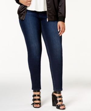 4d5dd55b27c Melissa McCarthy Seven7 Trendy Plus Size Tummy-Less Skinny Jeans - Blue 18W