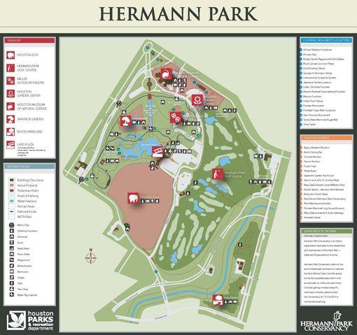 Hermann Park Map Hermann Park (Houston): Miller Outdoor Theater, the hill, the  Hermann Park Map