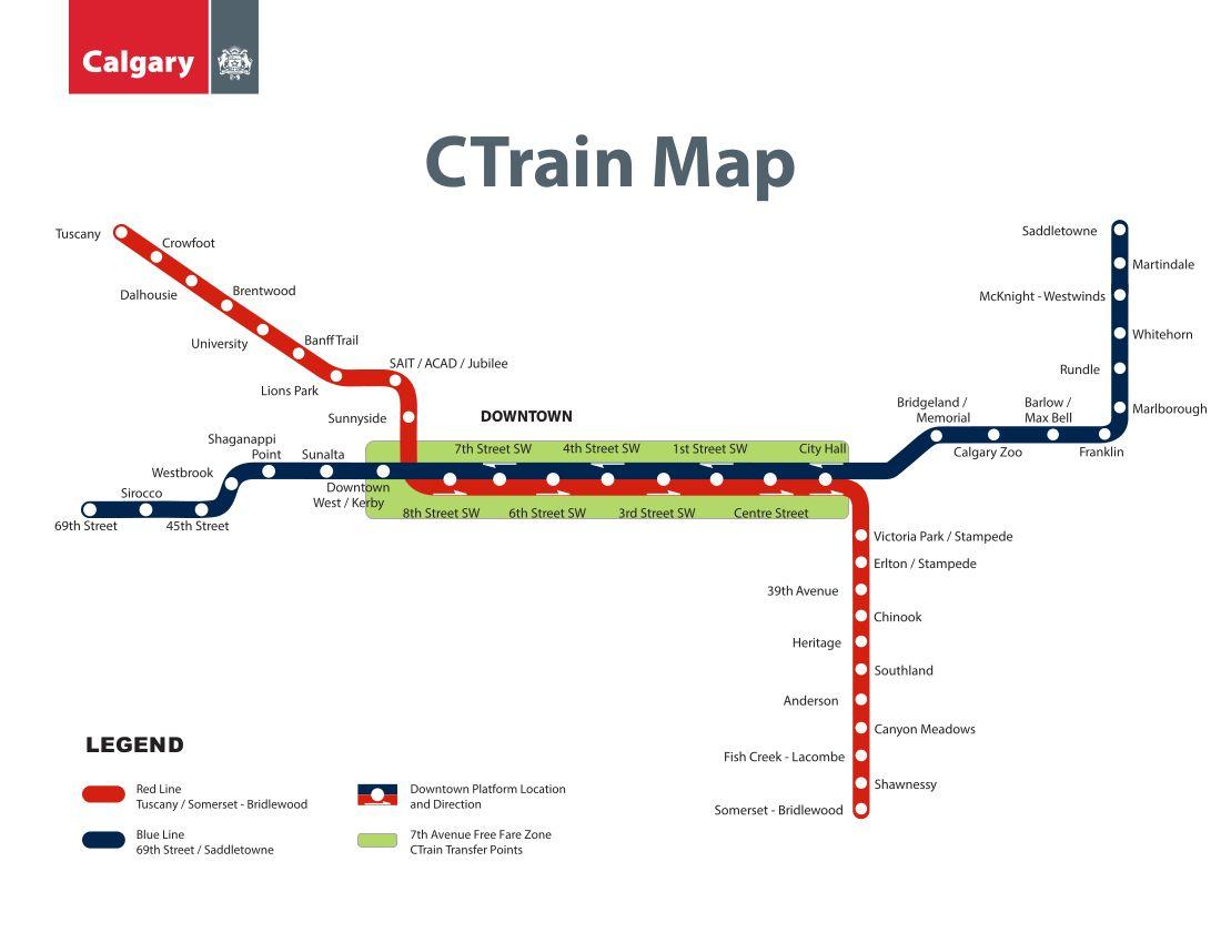 C Train Calgary Metro Map Canada Train Map Calgary Map