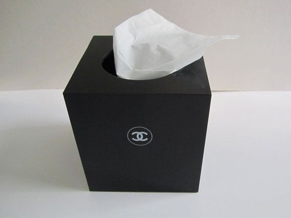 CHANEL Black Cube Tissue Box Roll Tissue Holder By Sweeeties 12999 Chanel Decor Tissue