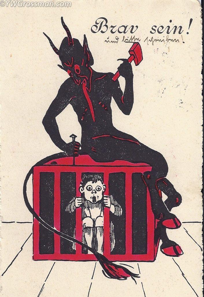 Krampus locking child in crate