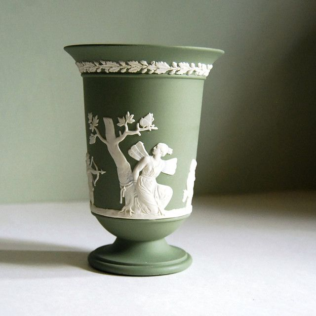 Wedgwood Jasperware Vase Sage Green With Cupid And Psyche