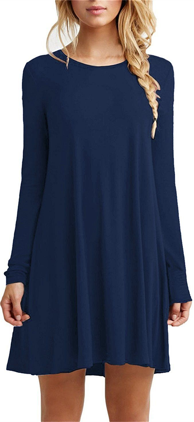 Simple T Shirt Dress Womens Dress Sleeve Plain Long Tshirt Casual