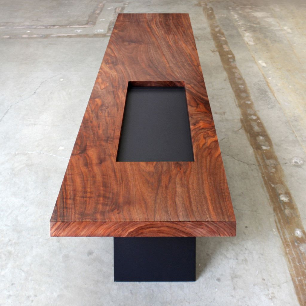 Anchor Coffee Table By Chaudhaus Walnut And Steel Rectangular