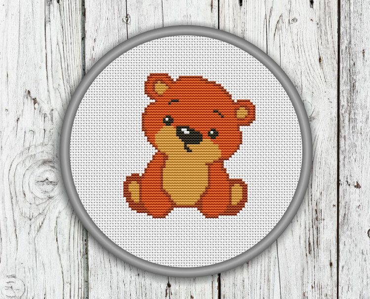 Lovely Teddy Bear Counted Cross Stitch Pattern by CrossStitchShop