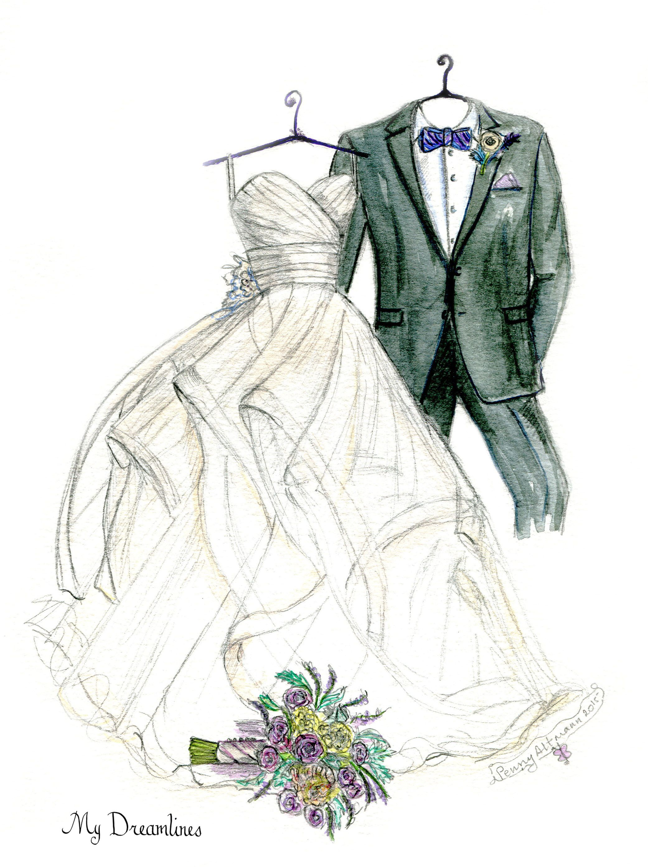 Dreamlines Wedding Dress Sketch Given As A Gift Anniversary And Valentines Day