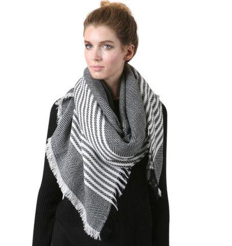 Striped Shawl Scarf - Black – Boutique Ish