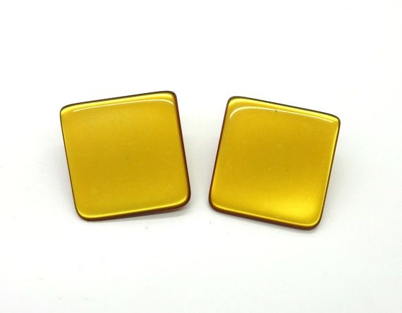Vintage Lucite Earrings Amber Square Clip On By Leesvintagejewels
