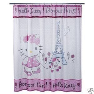 Bonjour Paris Hello Kitty Fabric Curtain w/ Rhinestones & Terrycloth Accenta