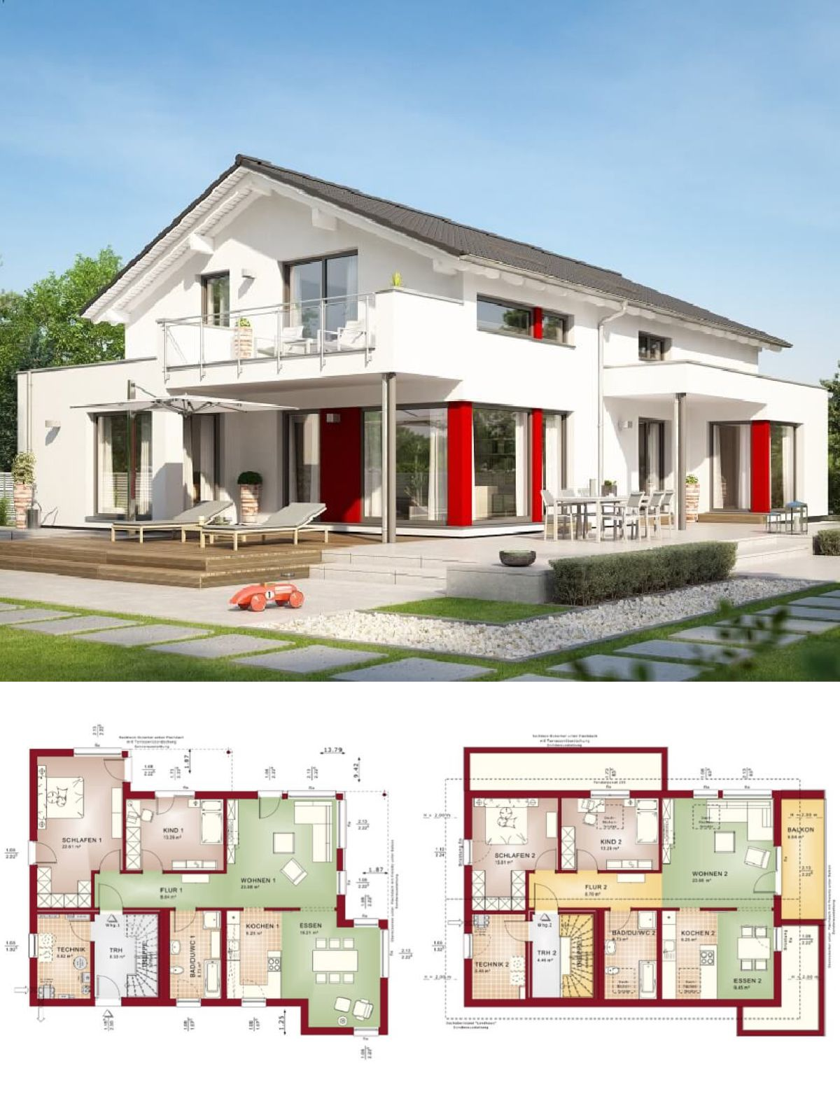 Zweifamilienhaus mit Einliegerwohnung Architektur modern