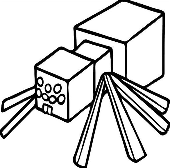 PrintableSpiderMinecraftColouringTemplatejpg