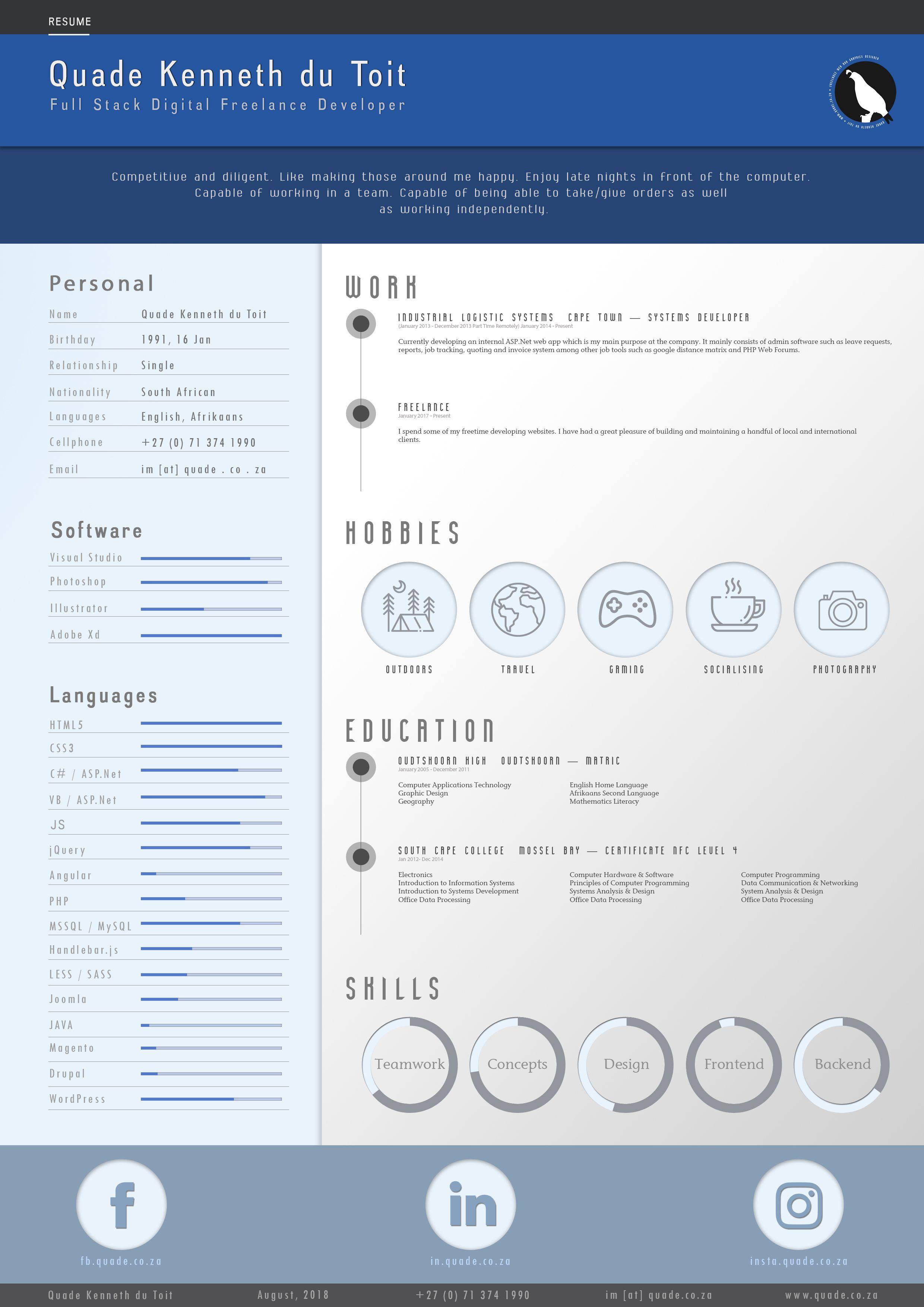 Custom Resume Year 2018 Web design, Cv template