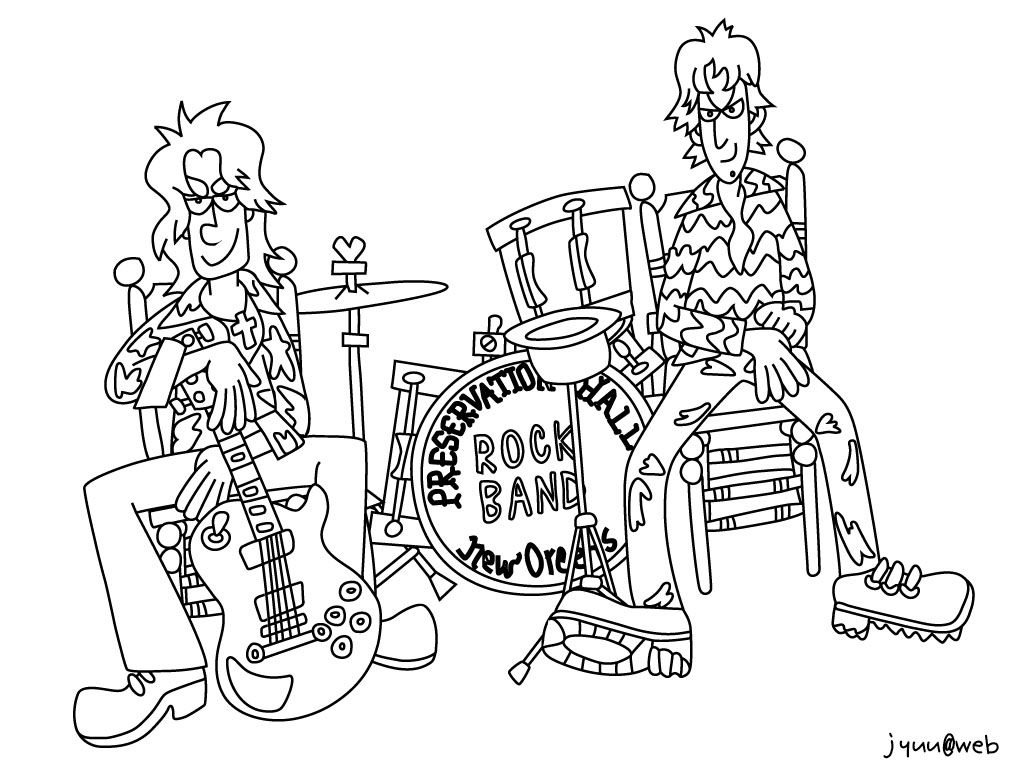 Template Rock Bands Band Coloring Pages