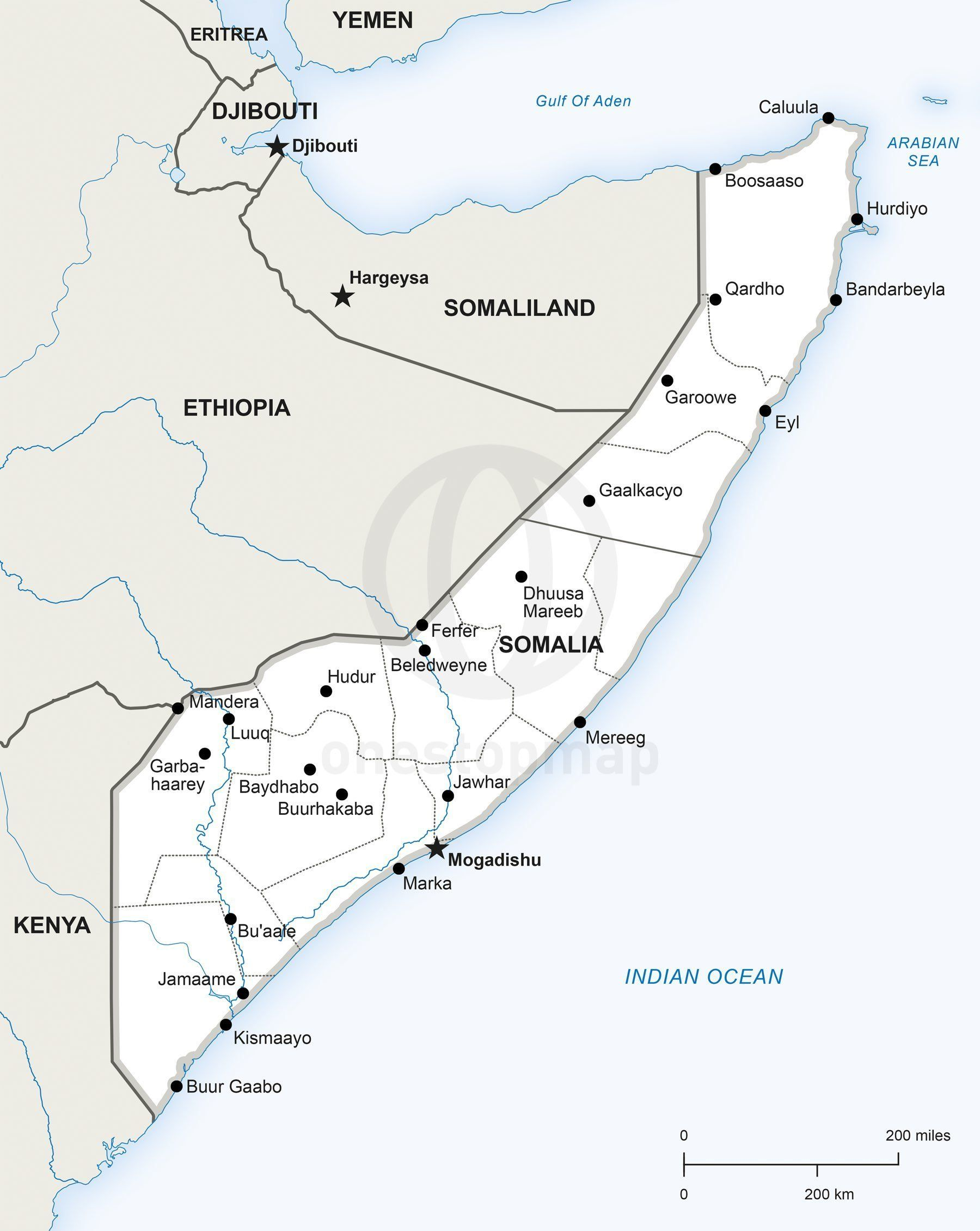 Vector Map Of Somalia Political Maps Map Africa Map Map Vector