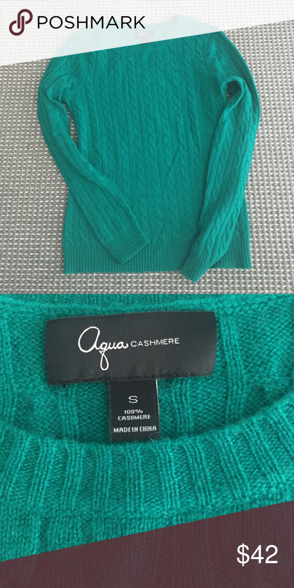 $SALE$ JUST LOWERED PRICE Aqua cashmere sweater Cashmere emerald green crewneck sweater. Excellent condition! Aqua Sweaters Crew & Scoop Necks