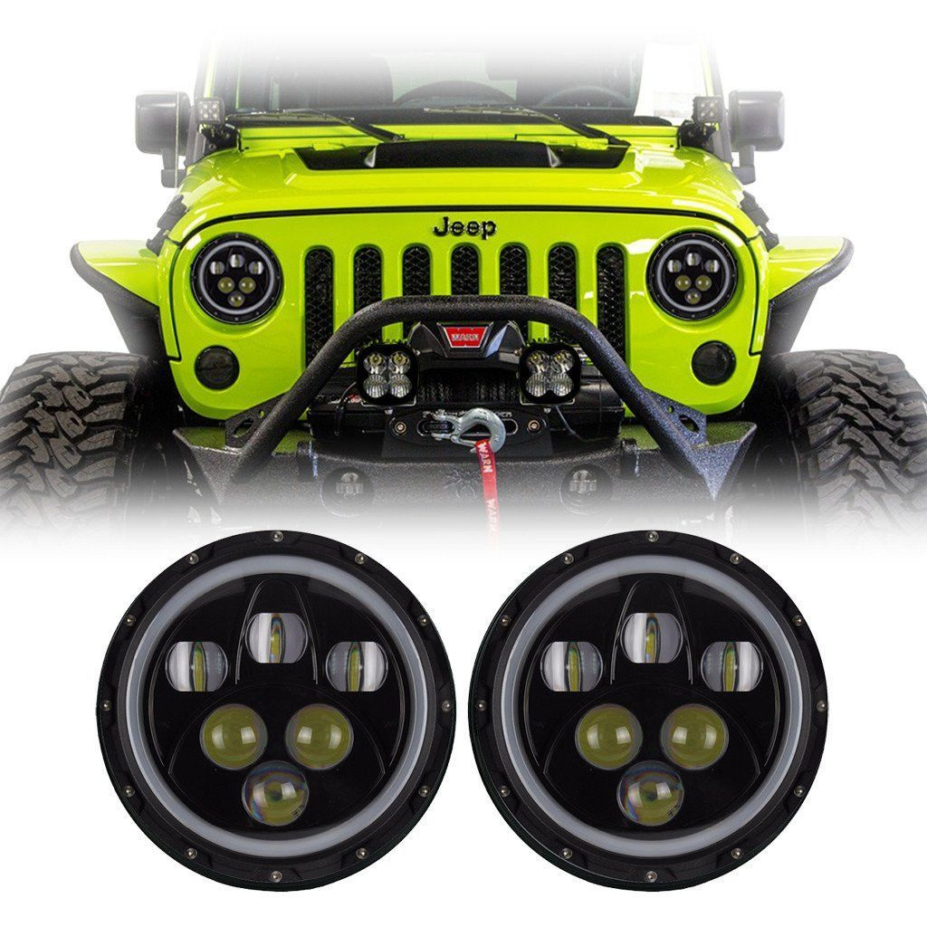 Jeep Wrangler Led Halo Headlights Jk Jku Tj 1997 2018 Predator
