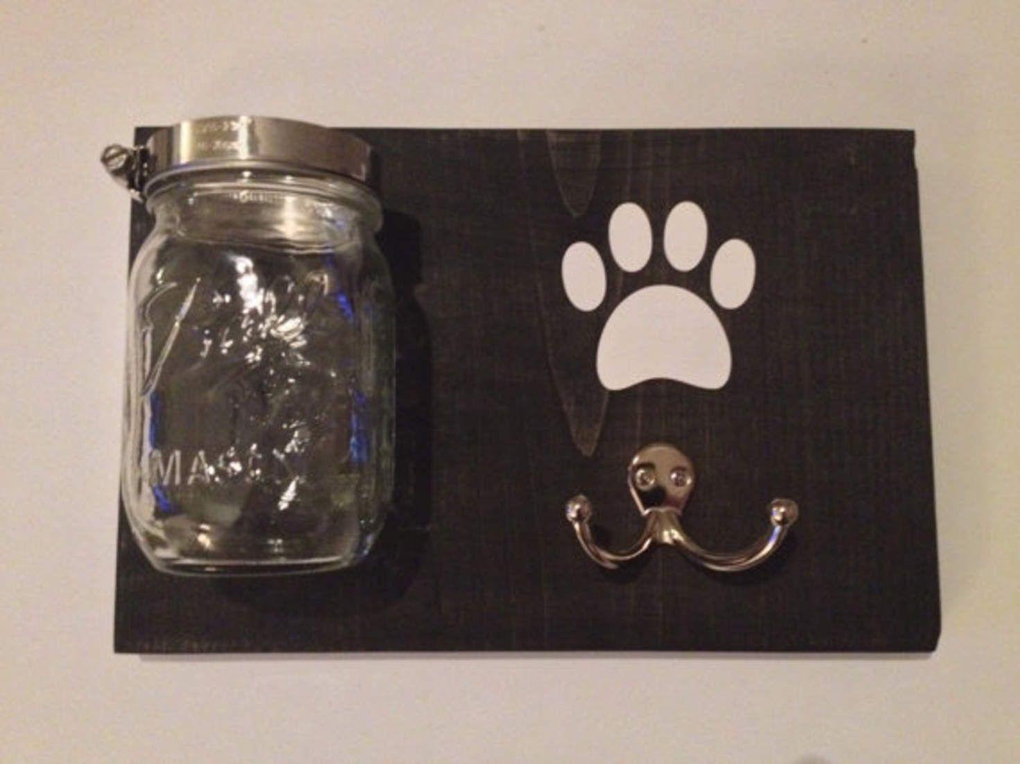 Dog Leash Treat Holder, Wood Wall Mount