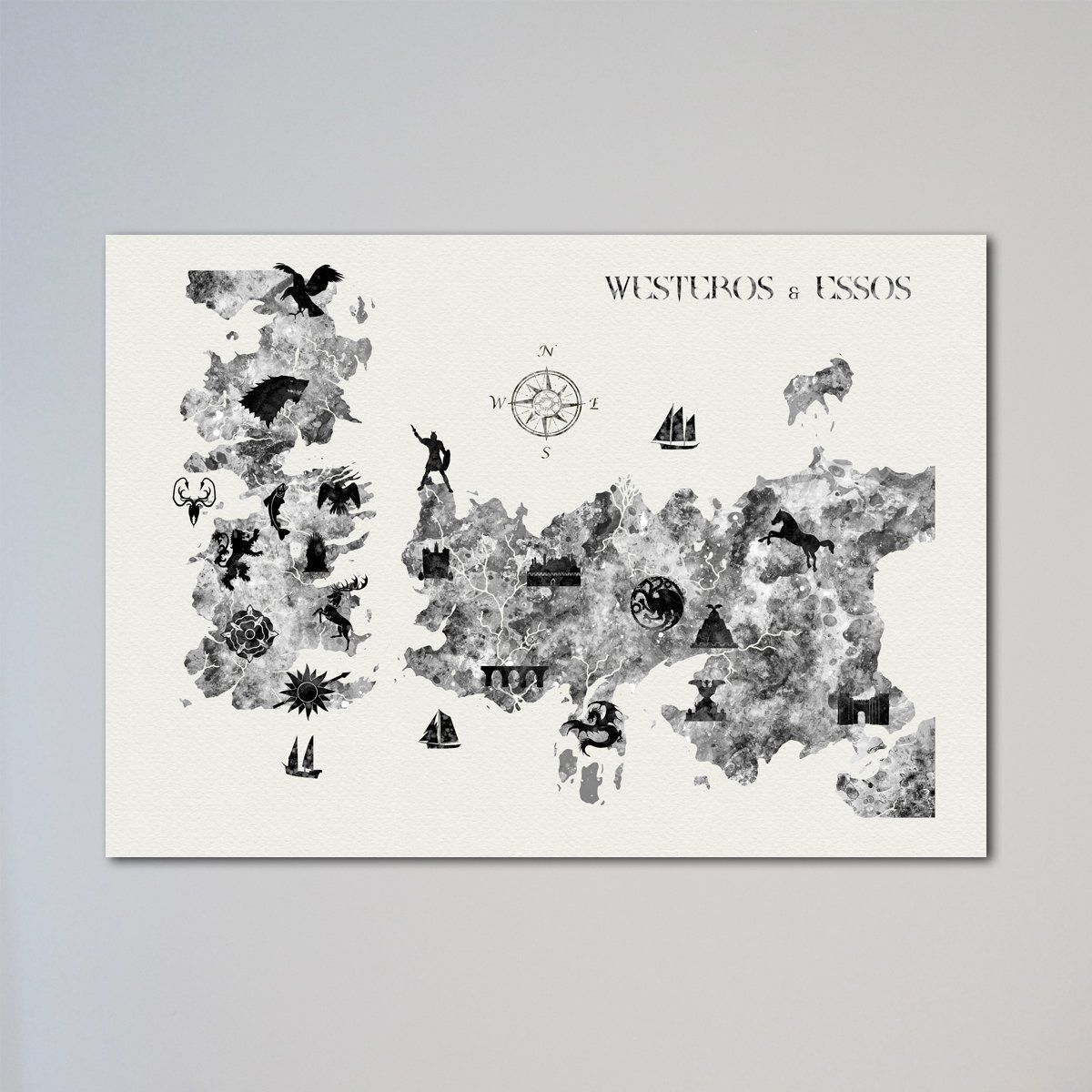 Game Of Thrones Houses locations Map Print. The frame on the picture ...