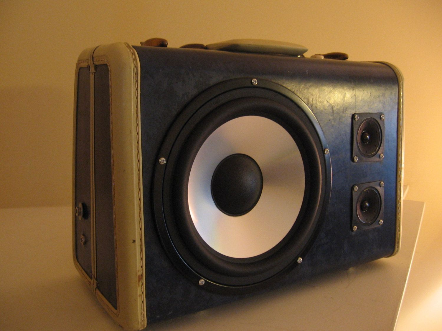 """Portable Vintage Suitcase Stereo Boombox - Funk Trunk - """"Little Blue"""". $275.00, via Etsy."""