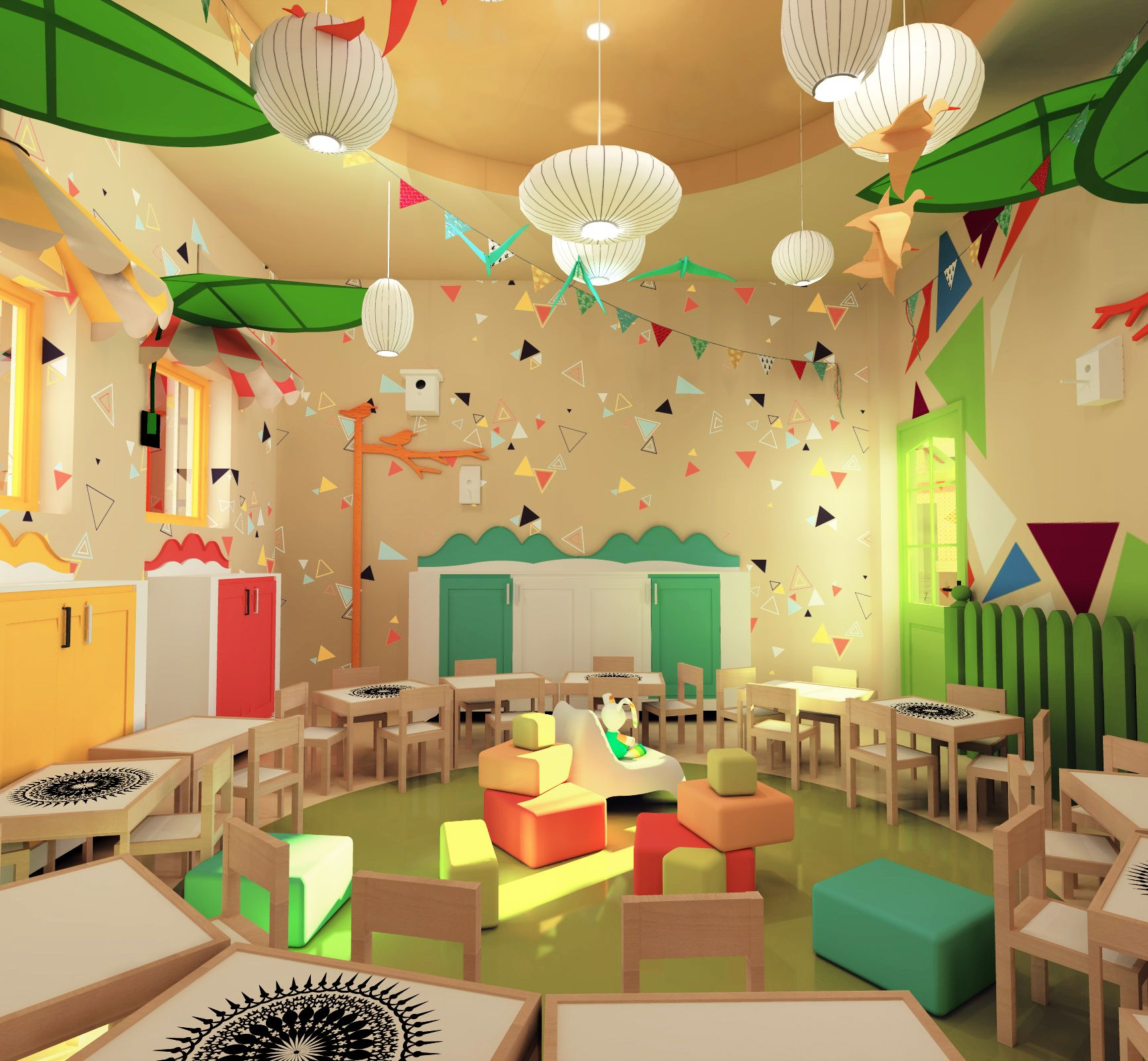 Kindergarten Dining Room Design - Colorful Spaces - Mandala Floor
