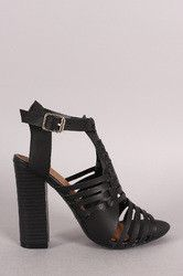 Bamboo Buckled Strappy Woven Chunky Heel