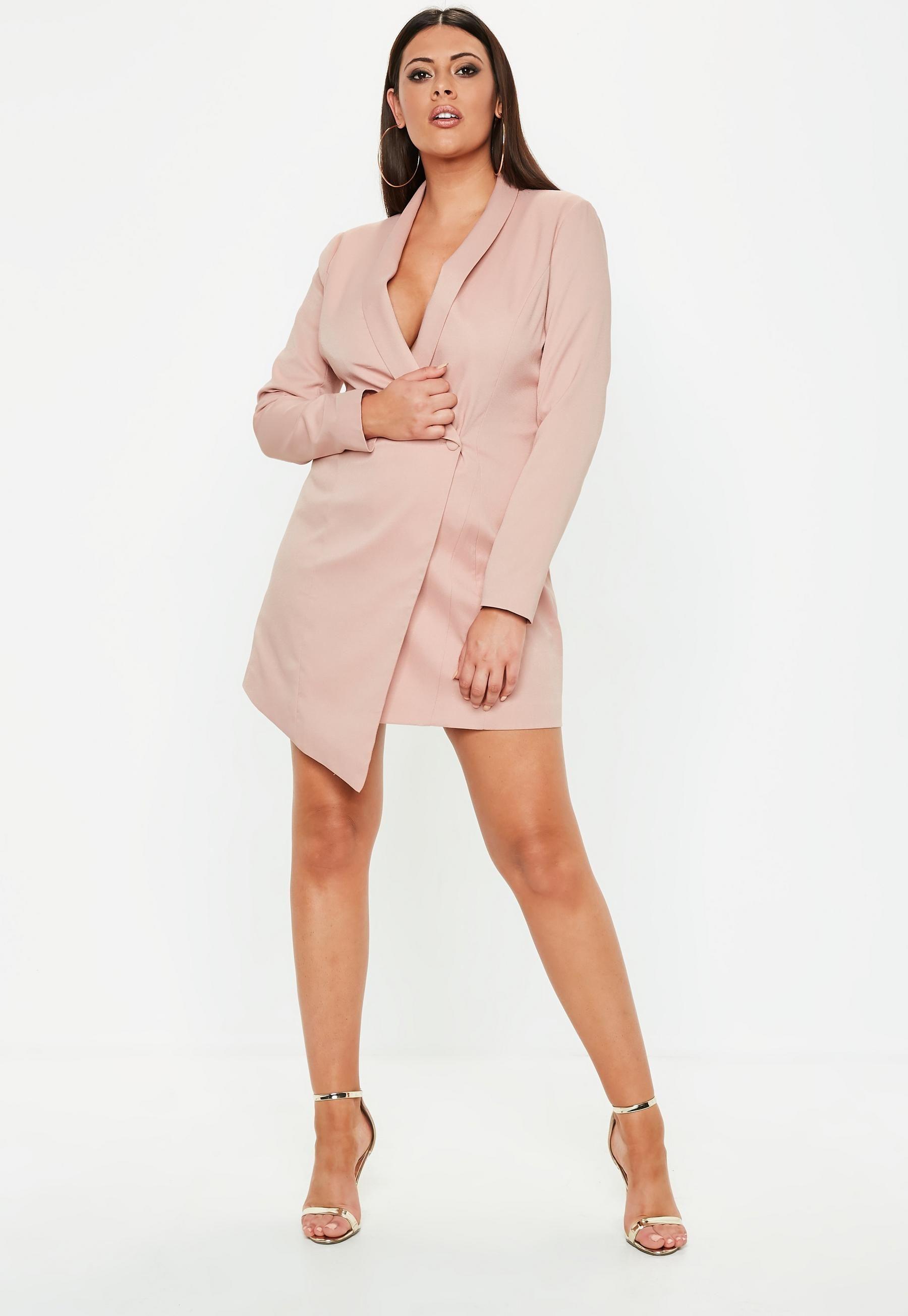 0c6e8ba5ac93f Plus Size Pink Blazer Dress | Missguided | Fashion | Blazer dress ...